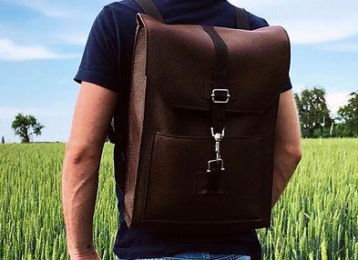 Photo d'un sac à dos en cuir réalisé par un artisan maroquinier à Paris