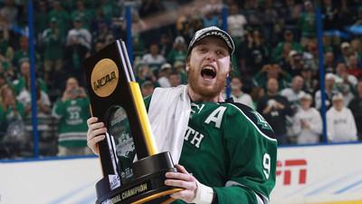 Drake Caggiula helps North Dakota win the 2016 NCAA National Championship