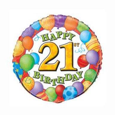 "Balloon Foil 18"" 21St Happy Birthday"