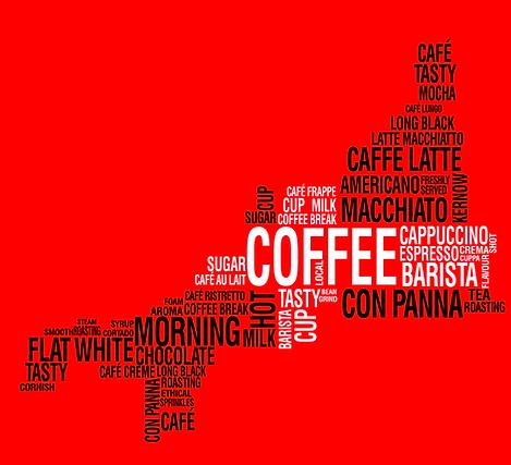 The Cornihs Barista, Coffee, Word cloud, Cornwall, Kernow, Coffee