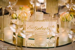 Décoration or (menu et nom de table)