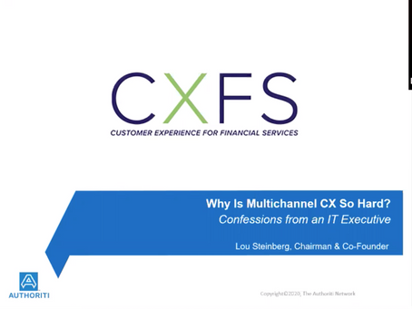 "VIDEO - CXFS 2020 presentation ""Why is multi-channel CX so hard? Confessions of an IT executive."""