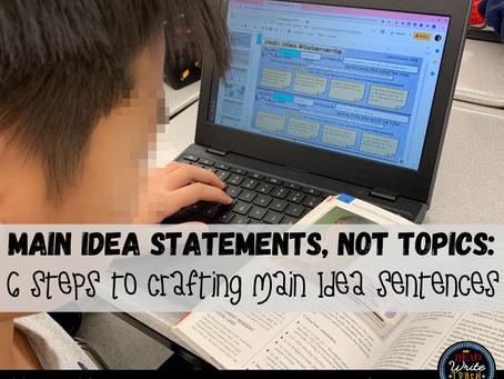 Main Idea Statements, NOT Topics: 6 Steps to Writing Main Idea Sentences