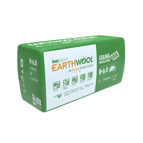 R6.0 Ceiling Knauf EARTHWOOL GLASSWOOL BATTS 580S