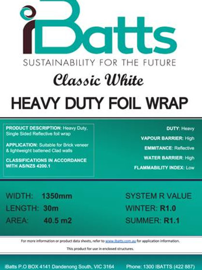 iBatts Classic White Heavy Duty 1350mm x 30m