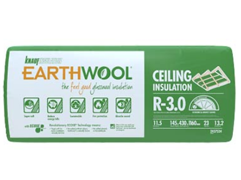R3.0 Ceiling Knauf EARTHWOOL GLASSWOOL BATTS 430S