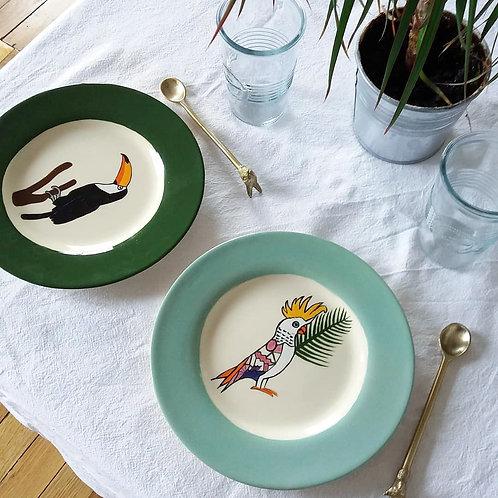 Lot de deux assiettes Oiseaux exotiques
