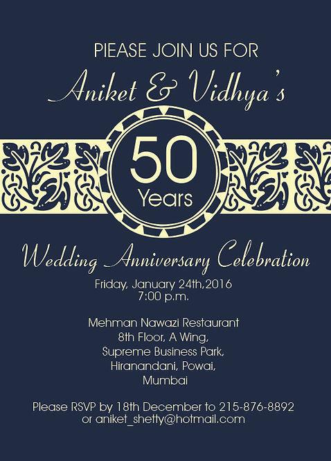 Beautiful 50th Wedding Anniversary Celebrartion Invitation