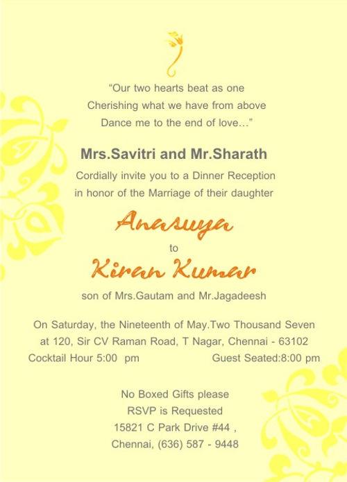 Indian Wedding Reception Invitation Wordings
