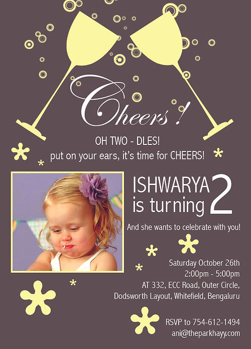 Kids 2nd Birthday Party Invitation Wordings Up