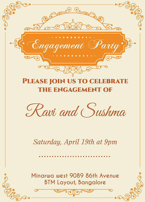 Indian Engagment Betrothal Ceremony Invitation Wordings
