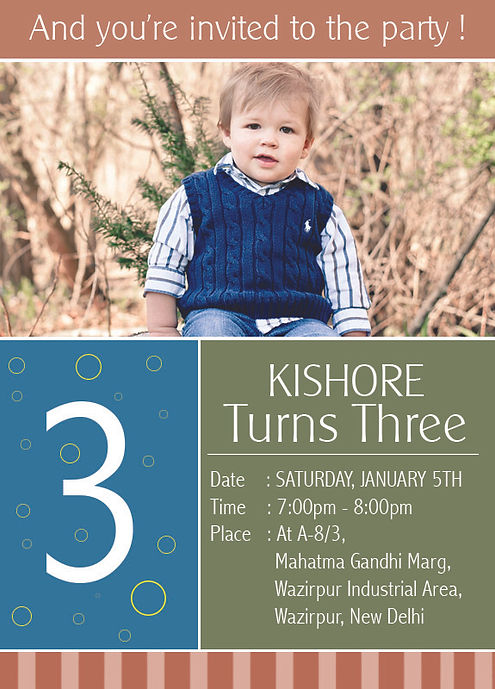 Kids 3rd Birthday Party Invitation Wordings. Kishore