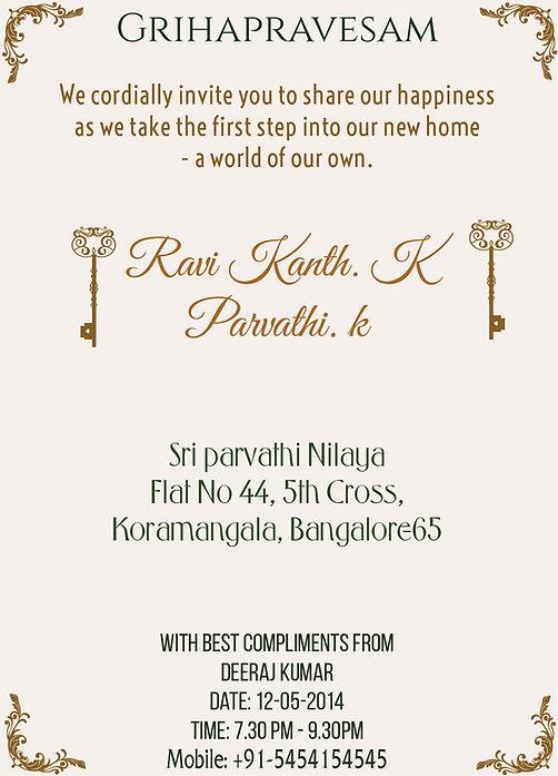 Wordings For Housewarming Griha Pravesh Vastushanti Ceremony In India