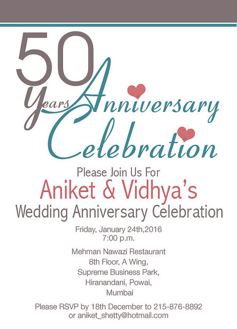 Free Wedding Anniversary Invitation Wordings India