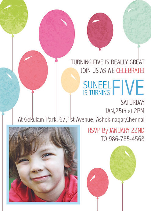 Kids 5th Birthday Party Invitation Wordings TURNING