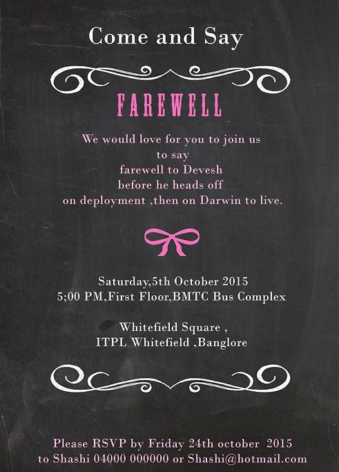 Farewell Invitation Cards For Senior