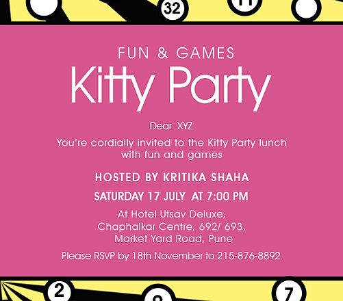 Kitty invitation sms newsinvitation invitation kitty party sms choice image sample and gallery stopboris Gallery