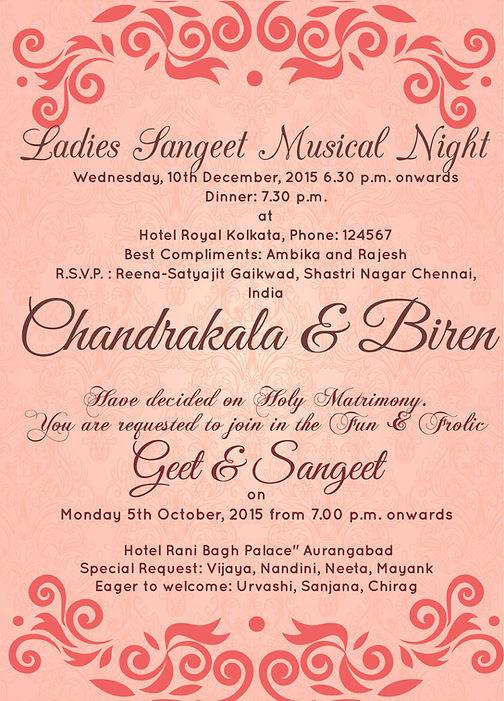 Free Sangeet Invitation Wordings Online