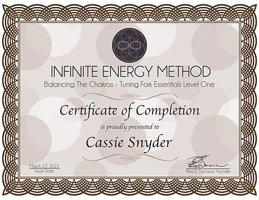 Certificate of Completion Chakras Cassie