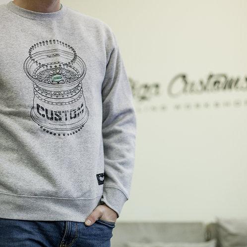 Custom BBS wheel sweatshirt - Light Grey