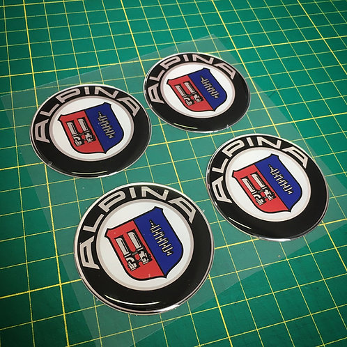 4x Alpina rims central caps 3D stickers