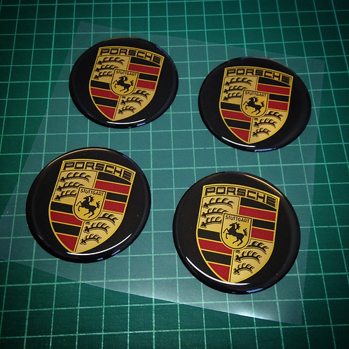 4x Porsche rims central caps 3D stickers