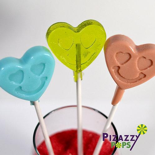 Smiley Face Hearts Lollipop