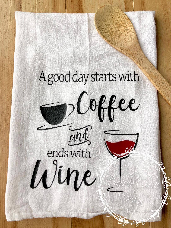 Coffee And Wine Kitchen Towel