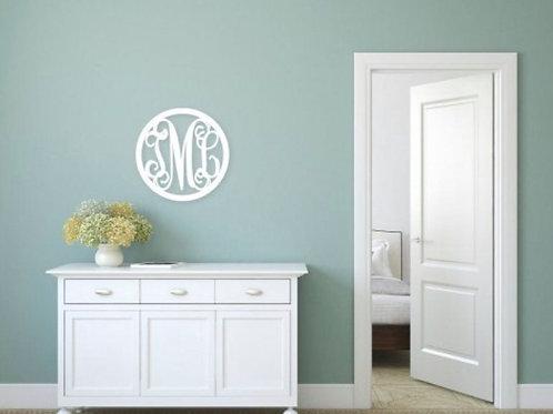 Circle Design 3 Initial Wood Monogram