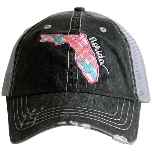 Florida Pastel Plaid Trucker Hat