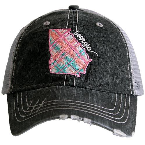 Georgia Pastel Plaid Trucker Hat