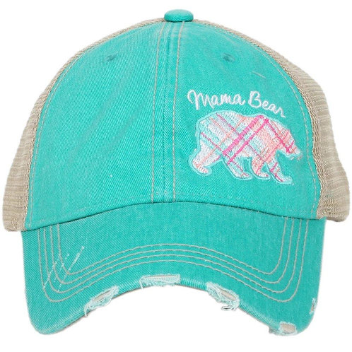 Mama Bear Pastel Plaid Trucker Hat