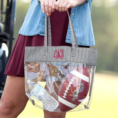 Houndstooth Clear Tote