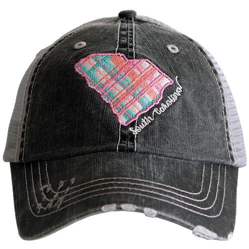 South Carolina Pastel Plaid Trucker Hat