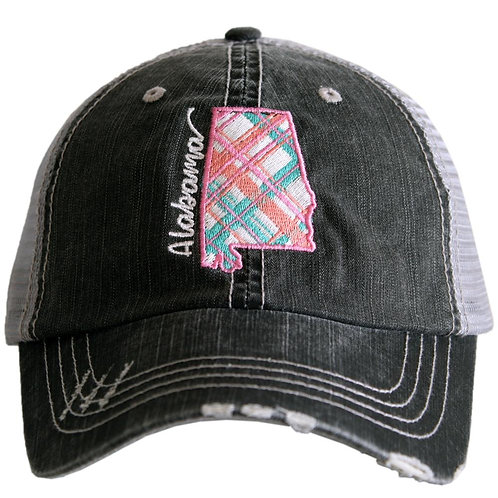 Alabama Pastel Plaid Trucker Hat