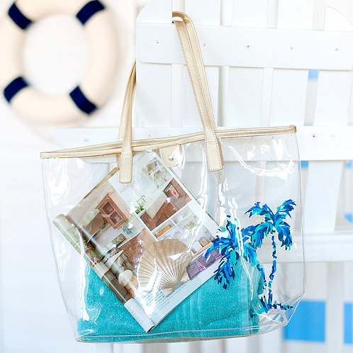 Palm Tree Retreat Clear Tote