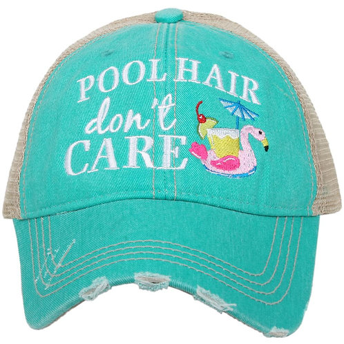 Pool Hair Don't Care (Swan Float) Trucker Hat