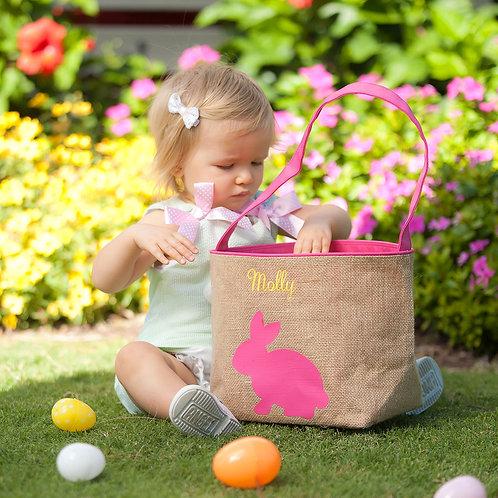 Hot Pink Burlap Bunny Bucket