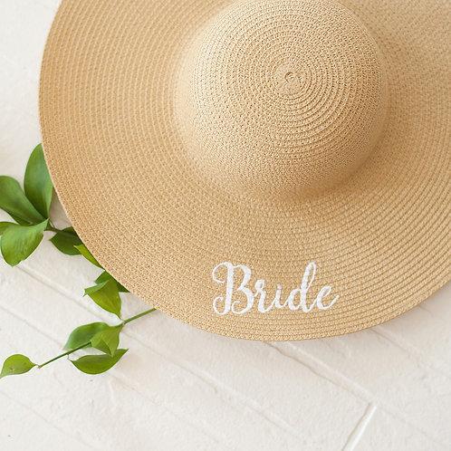 Floppy Hat with Bride in White Thread