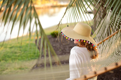 Multicolor Pom-Pom Floppy Hat