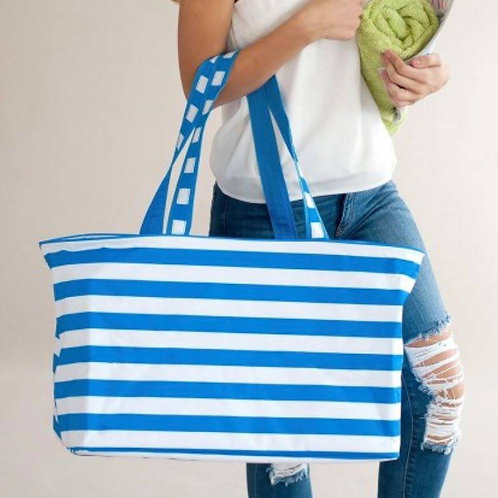 Electric Blue Stripe Ultimate Tote
