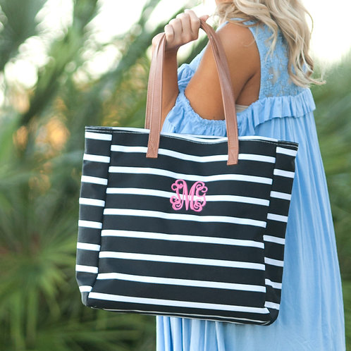 Black Stripe Tote Bag