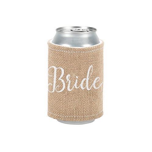 Burlap Drink Wrap Embroidered Bride in White Thread