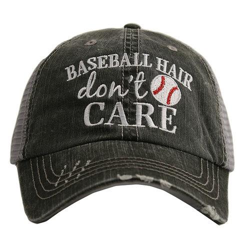 Baseball Hair Don't Care Trucker Hat