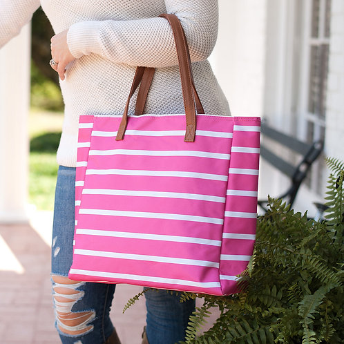 Hot Pink Stripe Tote Bag