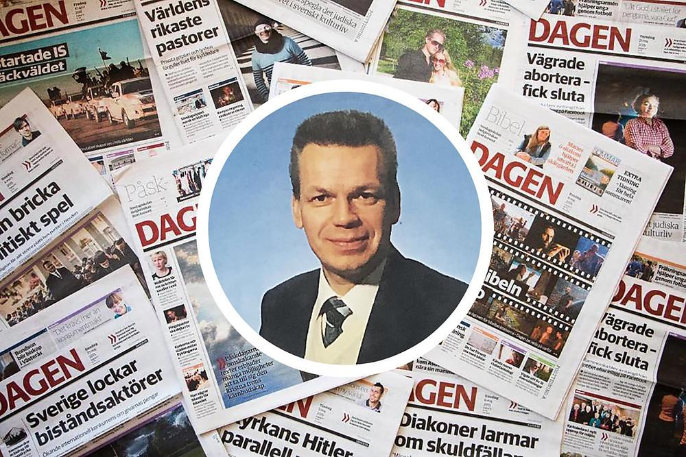 Sune Lyxell 1988 och tidningen Dagen (bilder: Twitter/Dagen, Nordiska journalisthögskolan)