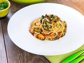 Spaghete mediteraneene  cu midii în sos Aioli