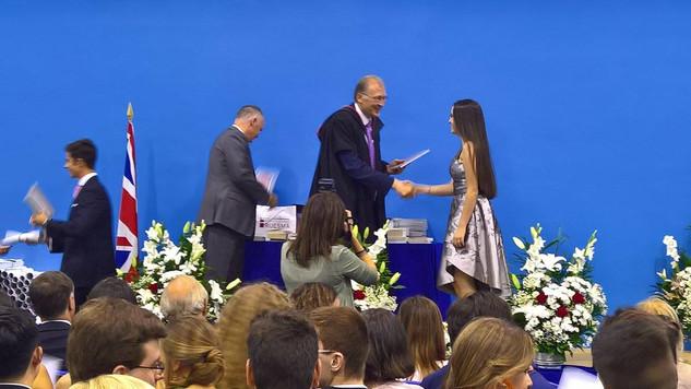 Receiving the Founder's Award at Graduation.