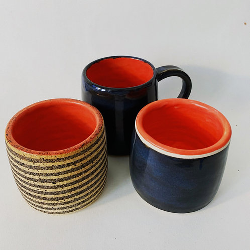 Striped Tumbler with Coral