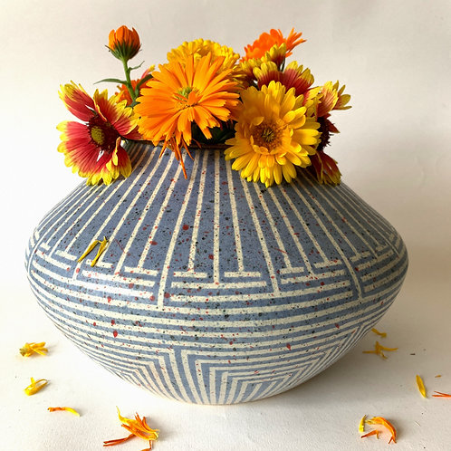 Olla Vase in Blue-Grey